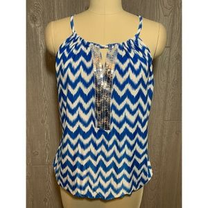 INC International Concepts Blue & White Tank L